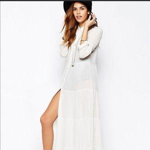 Glamours white tiered gauze shirt dress long new